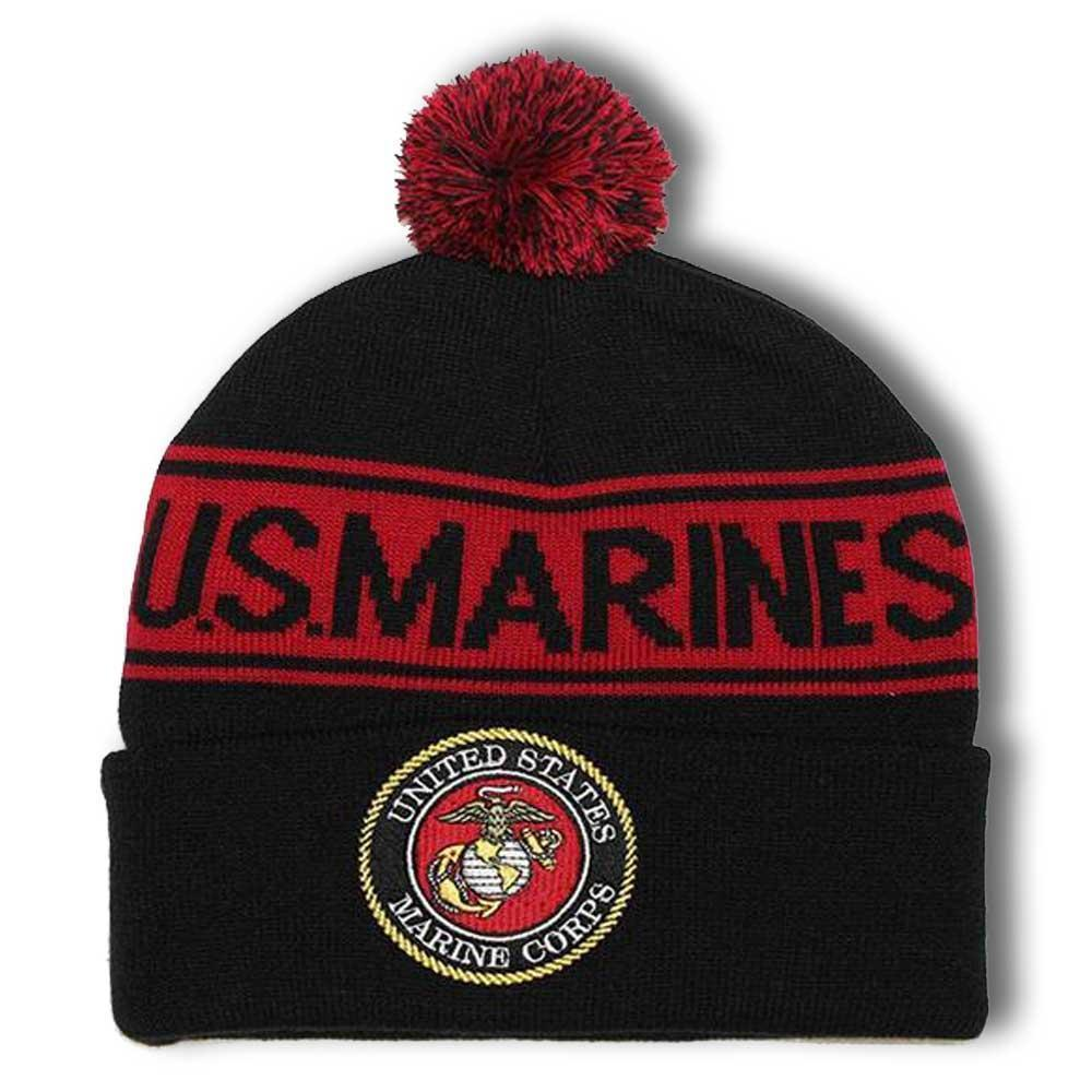 U.S MARINES Pom Pom Knit Cap-Military Republic