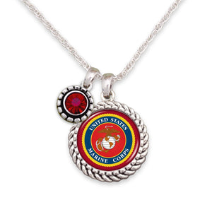 U.S. Marines Red Crystal Necklace