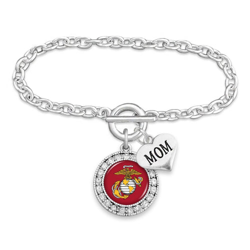 U.S. Marines Round Crystal Bracelet for Mom