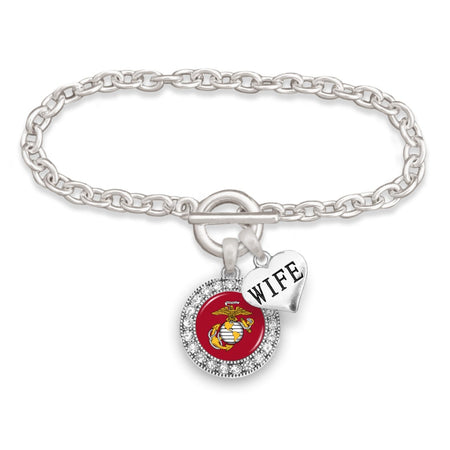U.S. Marines Round Crystal Bracelet for Wife