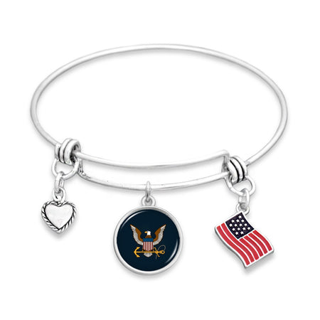 U.S. Navy 3 Charm Bracelet with American Flag