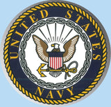 "U.S. Navy Crest Large 12""  Round Chrome Decal"