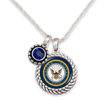 U.S. Navy Blue Crystal Necklace with Rope Logo Charm