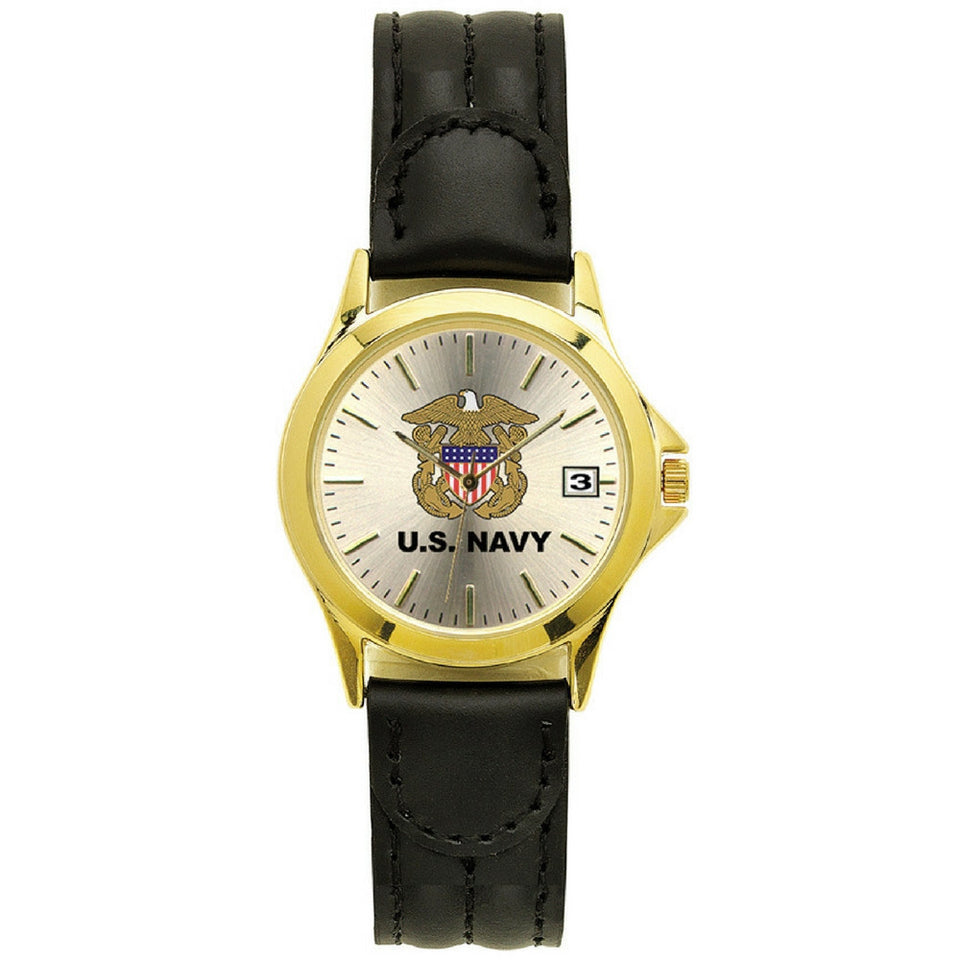US Navy Deluxe Leather Wrist Watch-Military Republic