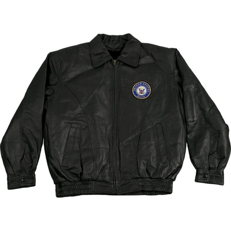 Navy Leather Jacket-Military Republic