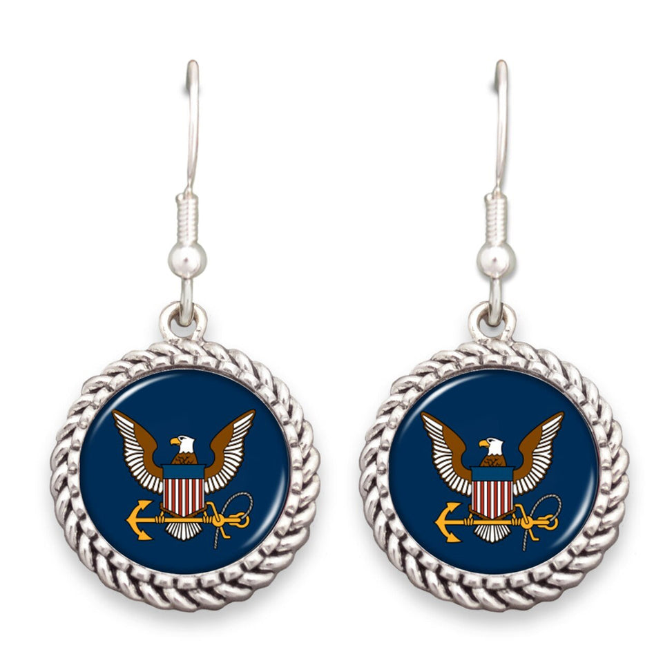 U.S. Navy Logo Rope Edge Earrings