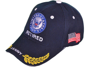 U.S. Navy Retired Logo w/ Shadow Military Caps-Military Republic