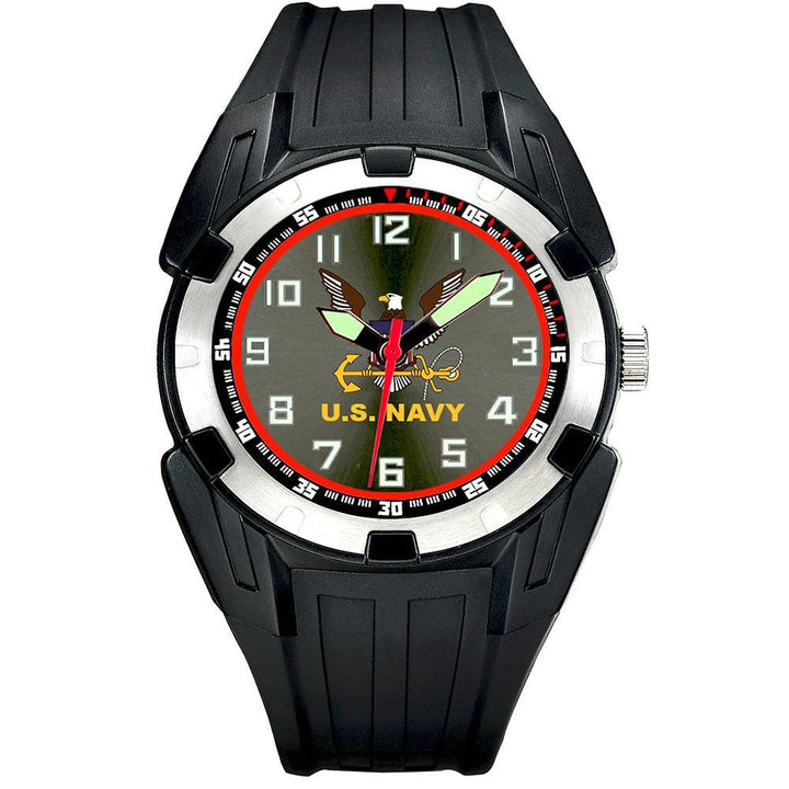 US Navy Super Black PU Strap Watch-Military Republic