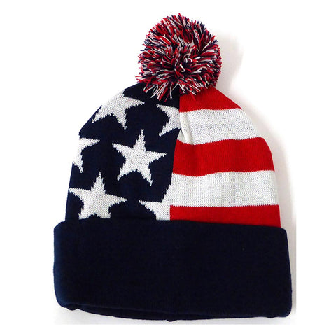 USA Flag Blue Band Pom Pom Beanie