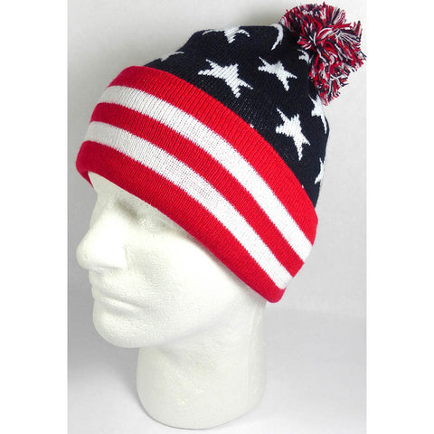 USA Flag Stars and Stripes Pom Pom Beanie