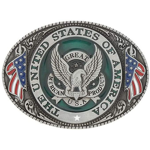 United States Eagle & Flag Zinc Alloy Belt Buckle