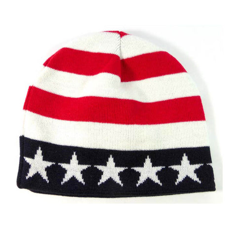 USA Flag Skull Cap Knit Watch Cap Beanie