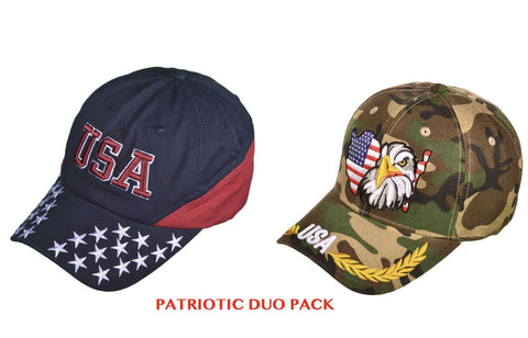 USA Patriotic Cap Duo - Camo Eagle & Flag + Red & Blue