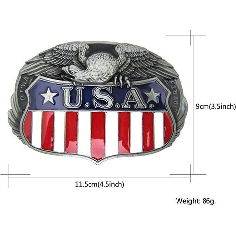 USA Flag, Eagle Shield Zinc Alloy Belt Buckle
