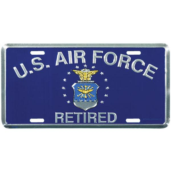 USAF Retired with Crest License Plate