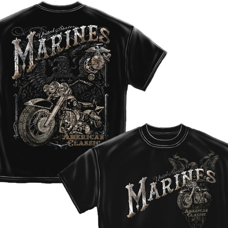 USMC American Classic Bike T-Shirt-Military Republic