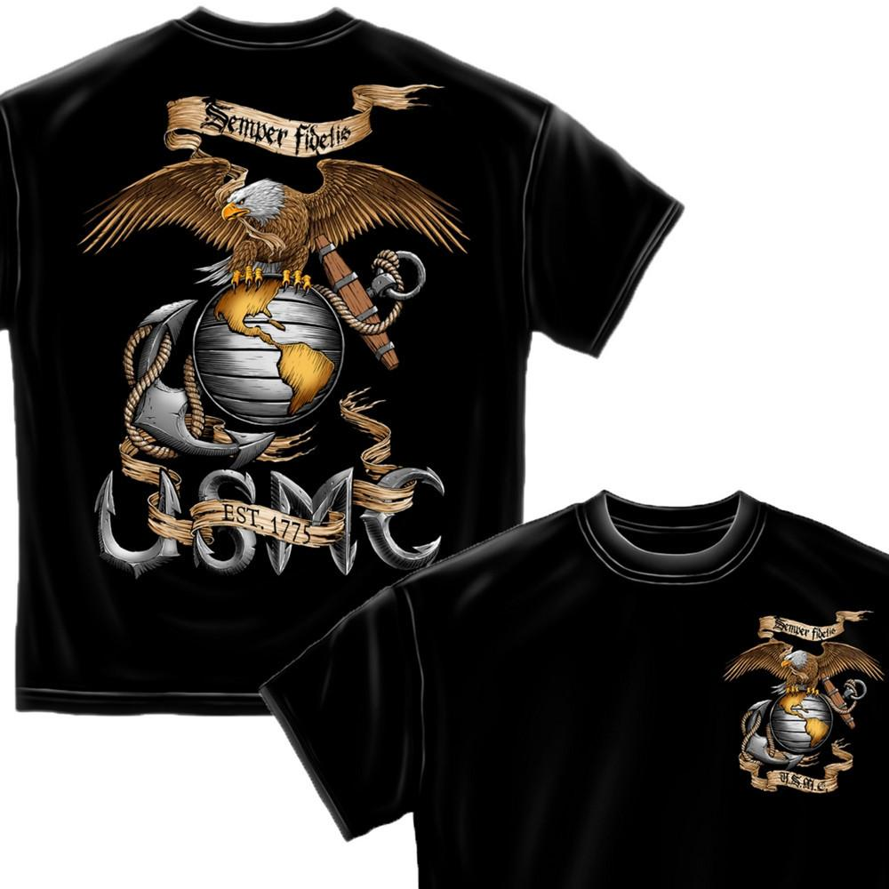 USMC Awesome Eagle Black T-Shirt-Military Republic