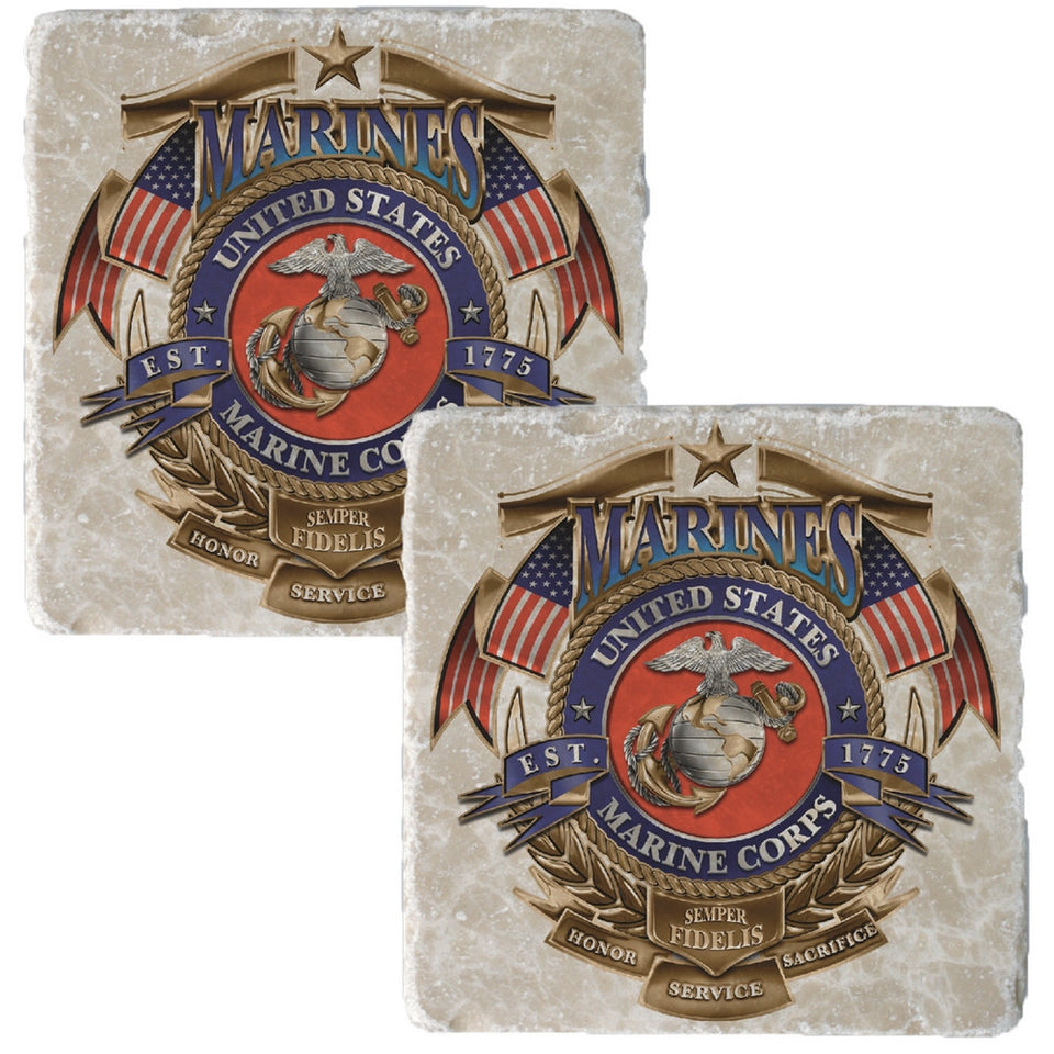 USMC Badge Coaster-Military Republic