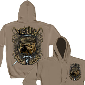 USMC Bull Dog Crossed Swords Hoodie-Military Republic