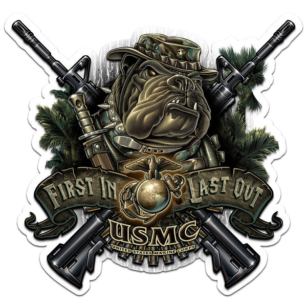 USMC Devil Dog First In Last Out Decal