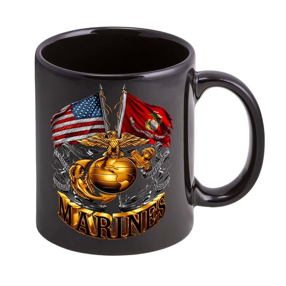 USMC Double Flag EGA Logo Stoneware Mug Set- Black
