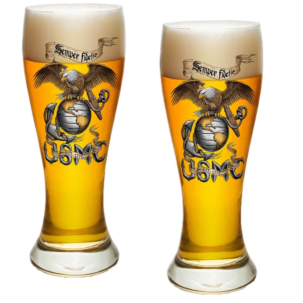 USMC Eagle Pilsner Glasses Set-Military Republic