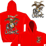 USMC Eagle Red Hoodie with FREE USMC Decal-Military Republic