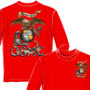 USMC Eagle Red Long Sleeve Shirt-Military Republic