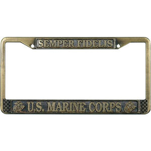 USMC Fidelis Antique Brass License Plate Frame