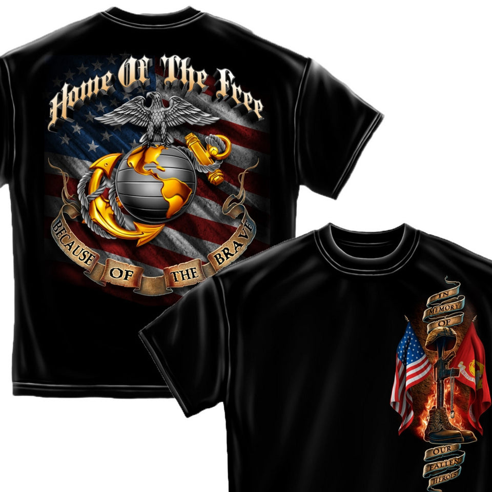 USMC Home Of The Free Because Of The Brave T-Shirt-Military Republic
