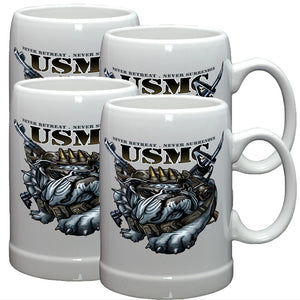 USMC Never Retreat Stoneware Mug Set-Military Republic