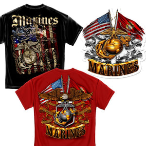 USMC Patriotic T-shirt Duo plus Decal Pack