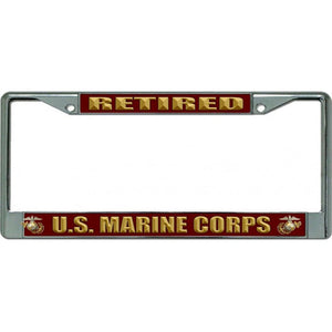 USMC Retired Chrome License Plate Frame