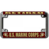 USMC Retired Chrome Motorcycle License Plate Frame
