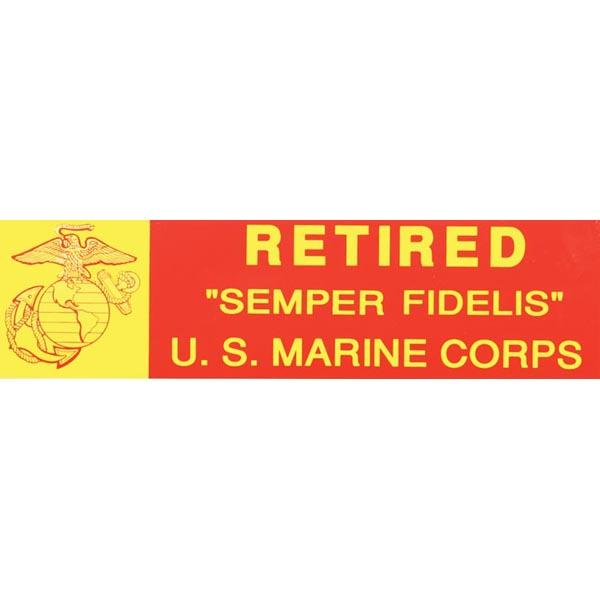 "USMC Retired EGA Logo 3 x 11"" Bumper Sticker"