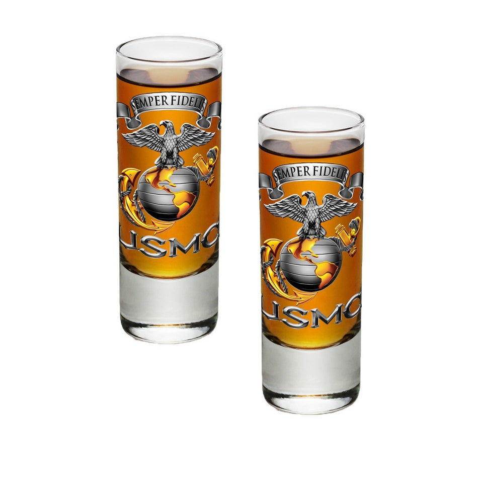 USMC Semper Fidelis Eagle Shot Glasses-Military Republic