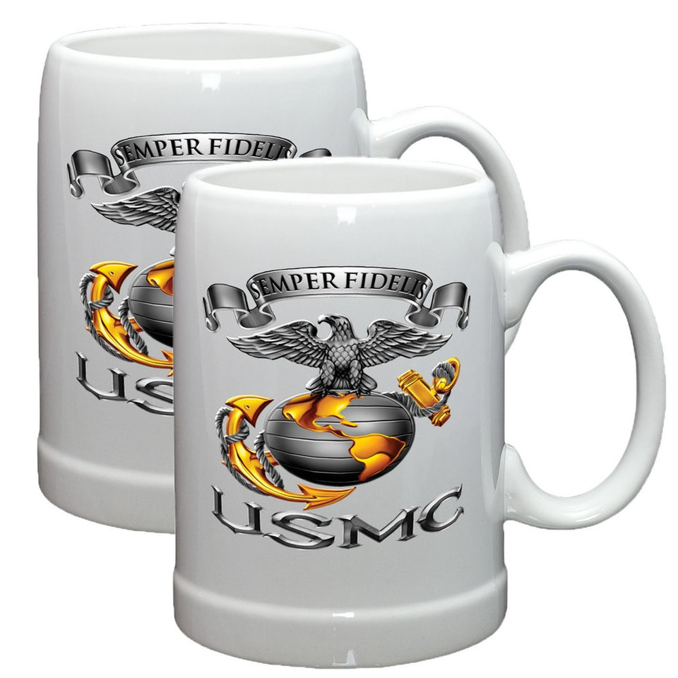 USMC Semper Fidelis Eagle Stoneware Mug Set-Military Republic