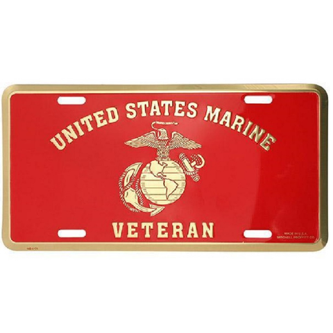 USMC Veteran with Eagle Globe and Anchor License Plate