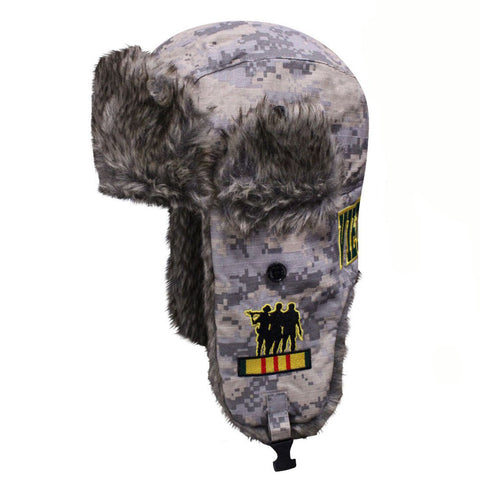 Dakota Dan Vietnam Veteran Camo Faux Rabbit Fur Aviator Cap
