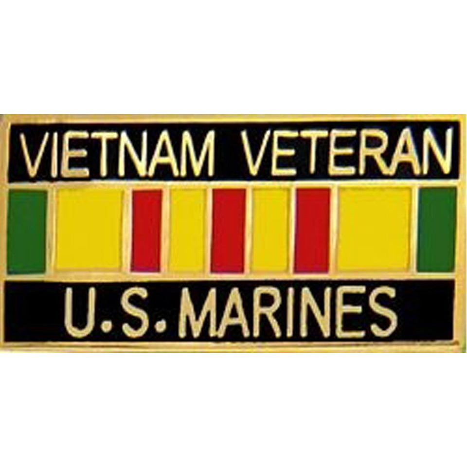 "Vietnam Veteran United States Marine Corps with Ribbon Pin (1 1/8"" inch)"