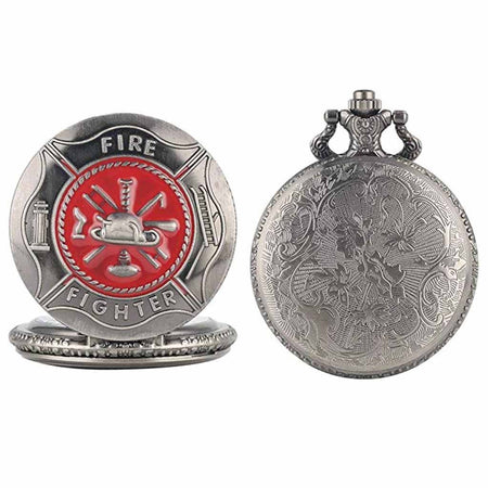 Vintage Firefighter Quartz Analog Pocket Watch with Red Pattern