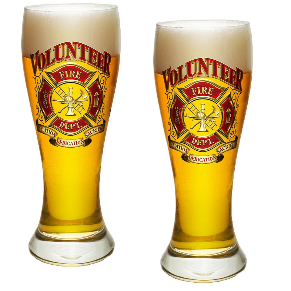 Volunteer Firefighter Pilsner Glass Set-Military Republic