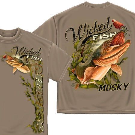 Wicked Fish Musky T-Shirt-Military Republic