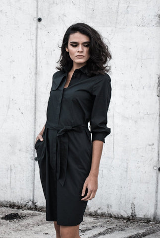 shirt dress black classic organic cotton