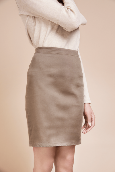 ethical fashion lightbrown pencil skirt organic cotton sateen