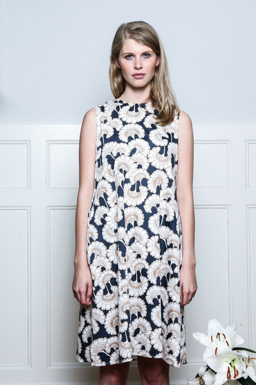 Daruma Organic Cotton Satin Dress Flower Print