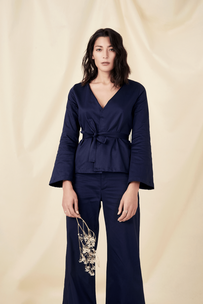 Navy organic cotton blouse shop sustainable fashion brands online