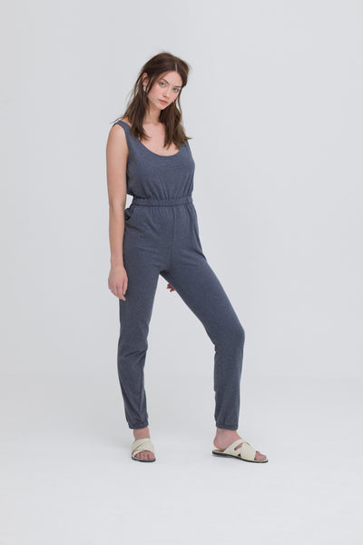 ethical fashion grey jumpsuit organic cotton zola amour
