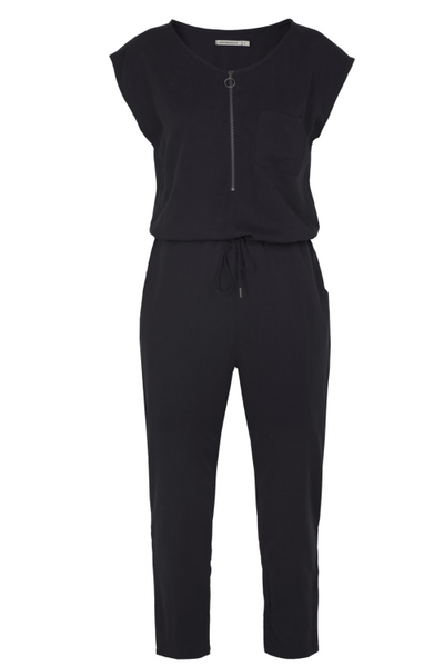 Ethical fashion black jumpsuit Armed Angels sustainable fashion brands
