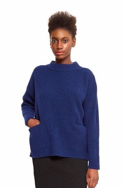 ethical fashion lambswool blue wool jumper